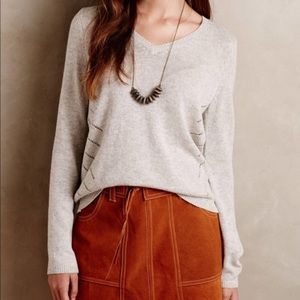 Anthro {Moth} Cashmere Blend Tie Back Sweater (XS)